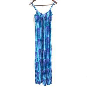 Tommy Bahama Blue & Turqoise Maxi Dress Size Small